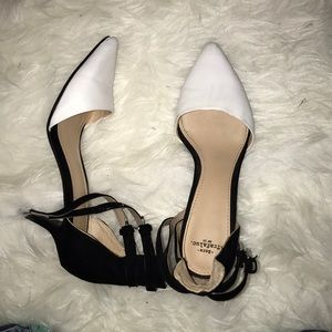 ZARA trafalac BLACK / WHITE POINT TOW HEEL